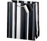BSB Luxusní dárková papírová taška 36 x 26 x 14 cm Černo-bílé pruhy LDT 253-A4