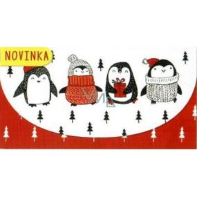 Nekupto Přání obálka na peníze vánoční 116 x 220 mm Tučňáci