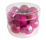 Baňky skleněné tmavě růžová sada 2 cm, 12 kusů