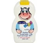 On Line Mléko & Med 2v1 sprchový gel a šampon na vlasy pro děti 250 ml