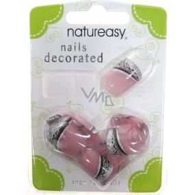 Diva & Nice Natureasy Nails Decorated nalepovací nehty růžové s černo-stříbrnou aplikací 24 kusů