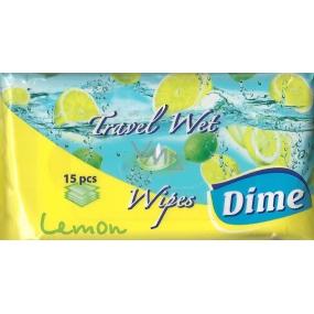Dime Lemon Cestovní vlhčené ubrousky 12 x 20 cm 15 kusů