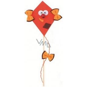 Dráček z filcu s pohyblivýma očima tmavě oranžový 8 + 17 cm