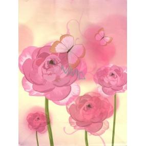 Nekupto Dárková kraftová taška střední 24 x 18 x 8 cm Růžové růže, 306 KKM