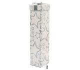 Dárková krabička skládací na lahev vánoční bílá stříbrné hvězdy 34 x 8 x 8 cm