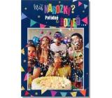 Albi Hrací přání do obálky K narozeninám Fouká konfety Happy 14,8 x 21 cm