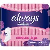 Always Dailies Singles To Go Normal slipové intimní vložky 20 kusů