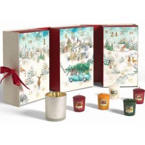 Yankee Candle Adventní kalendář Kniha čajová svíčka 12 kusů + votiv svíčka 12 kusů + svícen, Vánoční dárková sada