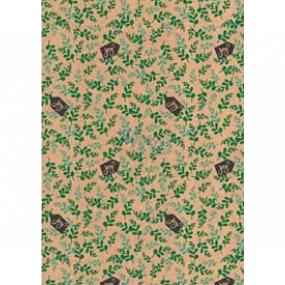 Ditipo Dárkový balicí papír 70 x 200 cm Vánoční KRAFT zelené haluzky