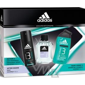 Adidas Ice Effect balzám po holení 100 ml + deodorant sprej 150 ml + sprchový gel 250 ml, kosmetická sada