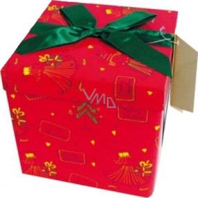 Dárková krabička s mašlí skládací vánoční červená se zelenou mašlí 1372 M 15 x 15 x 15 cm 1 kus