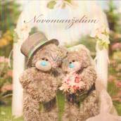 Me to You Blahopřání do obálky 3D K svatbě Svatební medvídci u brány 15,5 x 15,5 cm