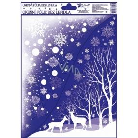 Okenní fólie bez lepidla Rohová s glitrem zimní krajina se zvířátky 42 x 30 cm