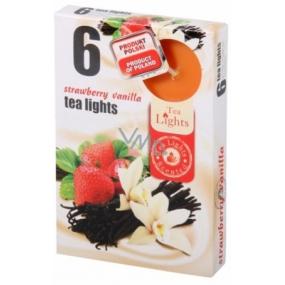 Tea Lights Strawberry Vanilla s vůní jahody a vanilky vonné čajové svíčky 6 kusů