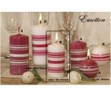 Lima Fresh Line Emotion vonná svíčka bílá - růžové pruhy válec 50 x 100 mm 1 kus