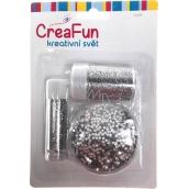 CreaFun Dekorační třpytky sada stříbrné 3 tuby 8 g