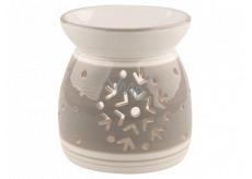 Aromalampa keramická šedobílá s vločkami 11,4 cm