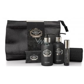 Castelbel Black Edition sprchový gel 100 ml + toaletní vodu 10 ml + tělové mléko 100 ml + toaletní mýdlo 40 g + ručníček 30 x 32 cm + uzavíratelný obal cestovní sada pro muže