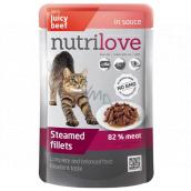 Nutrilove Dušené filetky se šťavnatým hovězím v omáčce kompletní krmivo pro kočky kapsička 85 g
