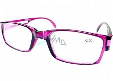 Berkeley Čtecí dioptrické brýle +2 plast fialové průhledné 1 kus MC2206