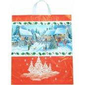 Press Igelitová taška s uchem vánoční vesnice 47 x 41 cm 1 kus