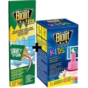 Biolit Kids Elektrický odpařovač proti komárům 45 nocí náhradní náplň 35 ml + Biolit Eco past na rybenky, stínky, svinky na monitorování 3 kusy