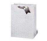 BSB Luxusní vánoční dárková papírová taška 36 x 26 x 14 cm holografické hvězdy VDT 412 - A4