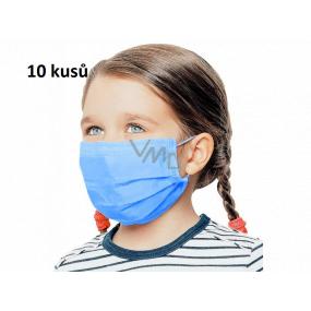 Rouška 3 vrstvá ochranná zdravotní netkaná jednorázová, nízký dýchací odpor pro děti 10 kusů sytě modrá bez potisku