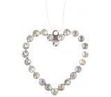 Srdce kovové závěsné s kamínky 9 cm