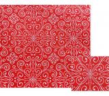 Nekupto Dárkový balicí papír 70 x 150 cm Červený s bílými ornamenty