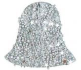 Zvoneček se stříbrnými kuličkami, hvězdičkami a drátkem 10 cm