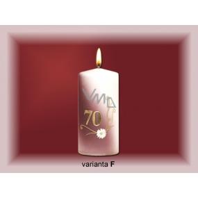 Lima Jubilejní 70 let svíčka bílá zdobená 70 x 150 mm 1 kus
