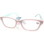 Berkeley Čtecí dioptrické brýle +4,0 světle růžové, světle zelené stranice 1 kus MC2150