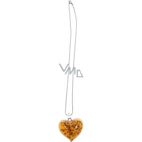 Bižuterie Náhrdelník stříbrný se skleněným oranžovým srdcem 45 cm
