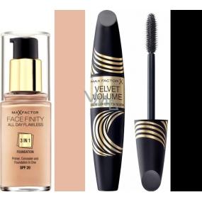 Max Factor Facefinity All Day Flawless 3v1 make-up 50 Natural 30 ml + Max Factor Velvet Volume False Lash Effect Mascara řasenka Black 13,1 ml