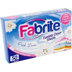 Fabrite Fresh Linen vůně do sušičky ubrousky 50 kusů