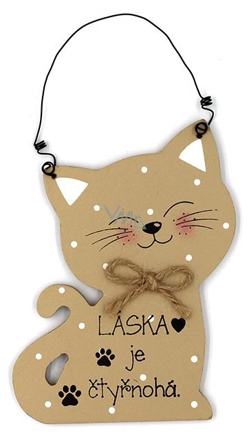 Nekupto Mazlíčci Dřevěná cedulka Láska je čtyřnohá - kočka 12 x 8,5 cm