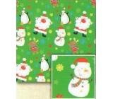 Nekupto Vánoční balicí papír pro děti Světle zelený, Santa, sněhulák 0,7 x 5 m