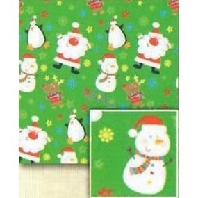 Nekupto Dárkový balicí papír 70 x 500 cm Vánoční Světle zelený, Santa, sněhulák