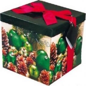 Dárková krabička s mašlí skládací vánoční zelená s červenou mašlí 1373 M+ 17 x 17 x 17 cm 1 kus