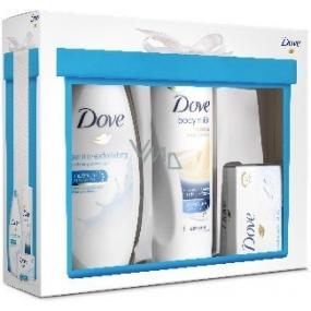 Dove Gentle Exfoliating vyživující sprchový gel 250 ml + Essential Nourishment tělové mléko 250 ml + Gentle Exfoliating toaletní mýdlo 100 g, kosmetická sada