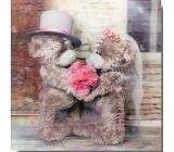 Me to You Blahopřání do obálky 3D K svatbě, Zamilovaní medvídci s kyticí,15,5 x 15,5 cm
