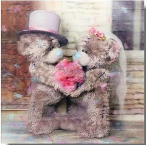 Albi Me To You Blahopřání do obálky 3D K svatbě, Zamilovaní medvídci s kyticí,15,5 x 15,5 cm