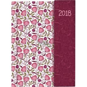 Albi Diář 2018 s magnetem Romantické květy 13 cm × 18 cm × 1 cm