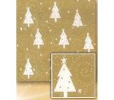 Nekupto Vánoční balicí papír Zlatý, bílé stromky 2 x 0,7 m
