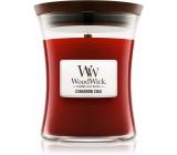 WoodWick Cinnamon Chai - Skořice a vanilka vonná svíčka s dřevěným knotem a víčkem sklo malá 85 g