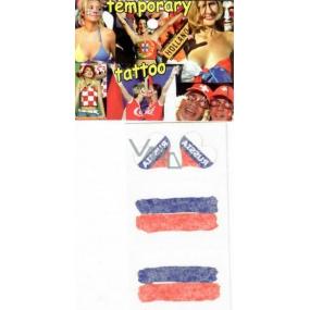 Arch Tetovací obtisky na obličej i tělo Rusko vlajka 2 srdce 1 motiv