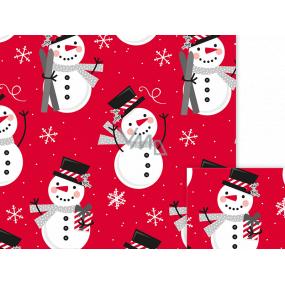 Nekupto Dárkový balicí papír 70 x 200 cm Vánoční Červený, sněhulák