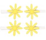 Kytičky žluté s glitry na kolíčku 5 cm, 4 kusy v sáčku