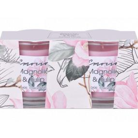 Emocio Magnolia & Tulip - Magnólie a tulipán vonná svíčka sklo 50 x 63 mm 2 kusy v krabičce